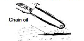 showing spray of chain oil