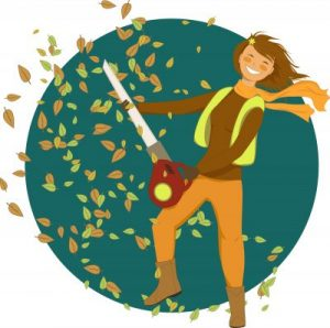 woman with leaf blower